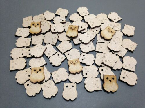 A27 MDF Scrapbook 20mm Owls Family Laser Cut Embellishment Wooden Craft Shape