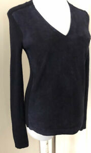 Tory-Burch-Navy-Blue-Mixed-Media-Suede-Ribbed-Wool-V-Neck-Sweater-Size-Small