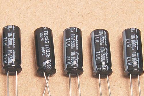 10pcs 1500uf 10v Electrolytic Capacitors 10v1500uf Rubycon ZLH Low ESR JAPAN