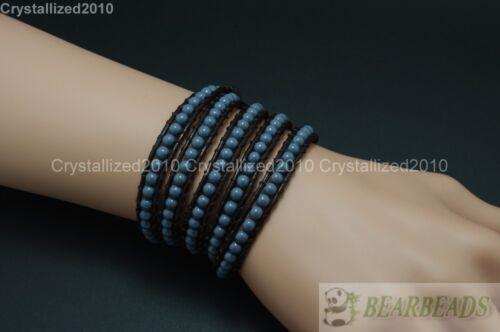 Hot Colorful Handmade Mixed Crystal Gemstones Beads Wrap Leather Bracelet 5 Wrap