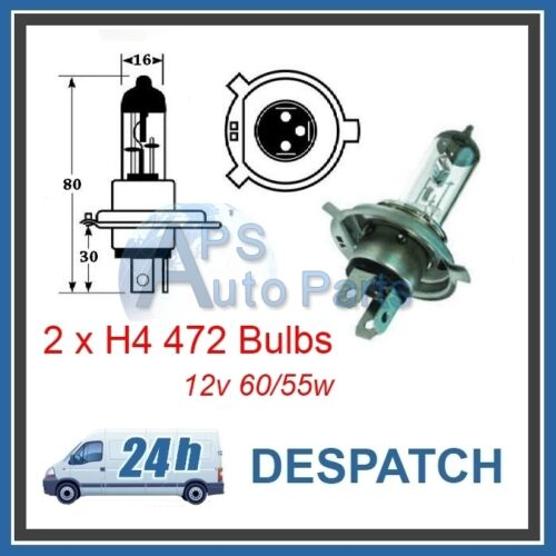 2 No H4 472 Halogen Bulb 12V 60//55w P43T Headlight Car Bulbs Fog Main Beam