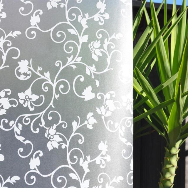 92cm x 3m Floral Flower Privacy Frosted Frosting Removable Window Glass Film