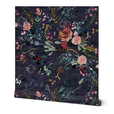 Wallpaper Roll Floral Flowers Botanical Dark Baby Girl 24in x 27ft