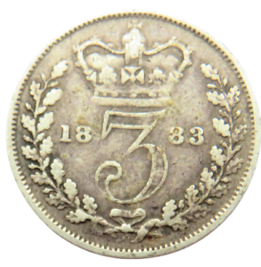 1883 Queen Victoria Young Head Silver Threepence Coin - Ref ; SC1