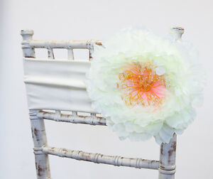 Große Elfenbeinfarbene Blumen Clip 22cm Hochzeits Stuhlabdeckung Stühle Dekor