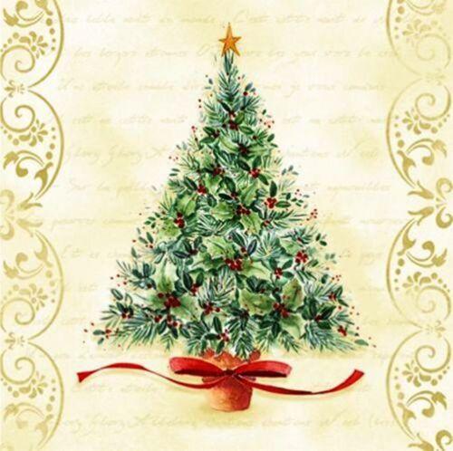 4 Decoupage Napkins Christmas Tree Christmas Time Themed 13 inch Serviettes