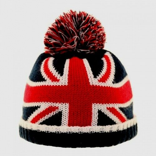 Enfants Bébés Britannique Union Jack UK /& US Flag Beanie Bobble Knit Hat 1-6 année 42 cm