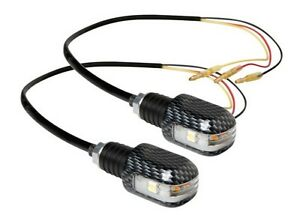 LED Motorcycle Handlebar End Weights 3 Function Indicators Carbon Look Aluminium