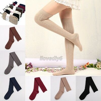Women Girl Thigh High OVER the KNEE Socks KNIT Cotton Stockings 7 Clours