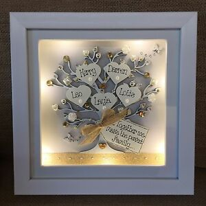 Personalised Led Lights Deep Box Frame Family Tree New Home House