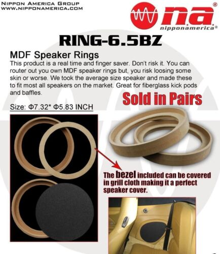"4 Pcs 6.5/"" MDF Speaker Rings With Bezel 3//4/"" Custom Car Audio Fiberglass Install"