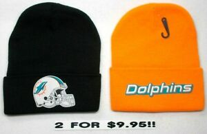 READ-LISTING-Miami-Dolphins-HEAT-APPLIED-Flat-Logos-on-2-Beanie-Knit-Cap-hat