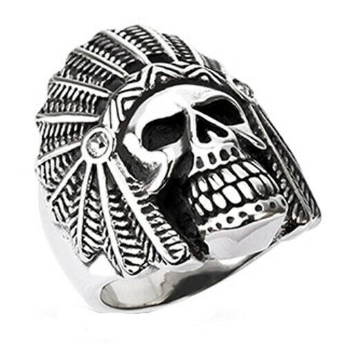 316L Stainless Steel Men/'s Large Indian Apache Chief Skull Biker Ring Size 9-14
