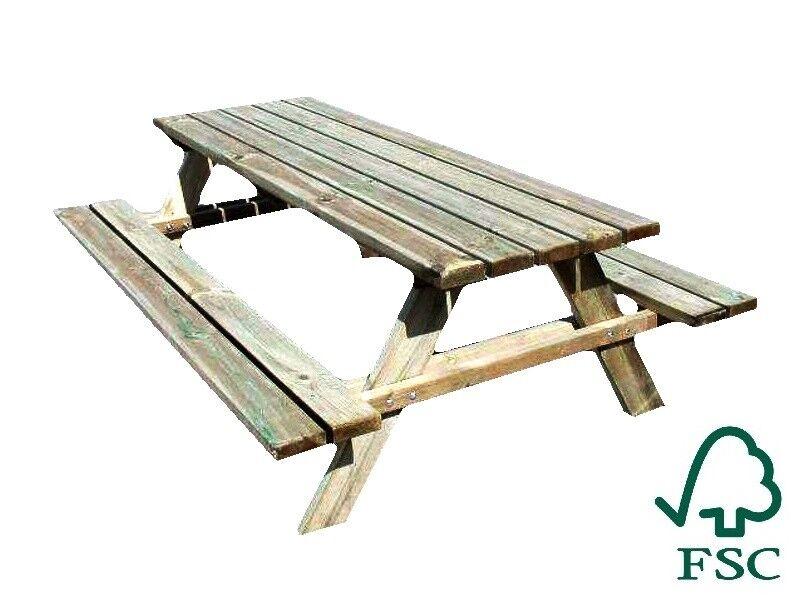 Details about Table de pique-nique en pin sylvestre H70xL200xW148cm jardin  Italfrom