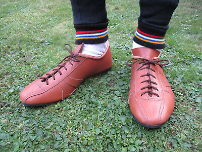 black with stripes Classic Road Cycling Shoes leather handmade vintage style