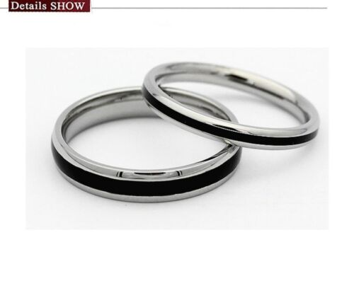 Titane Acier promesse Love Argent Et Noir Epoxy amour couple anneaux amant cadeau