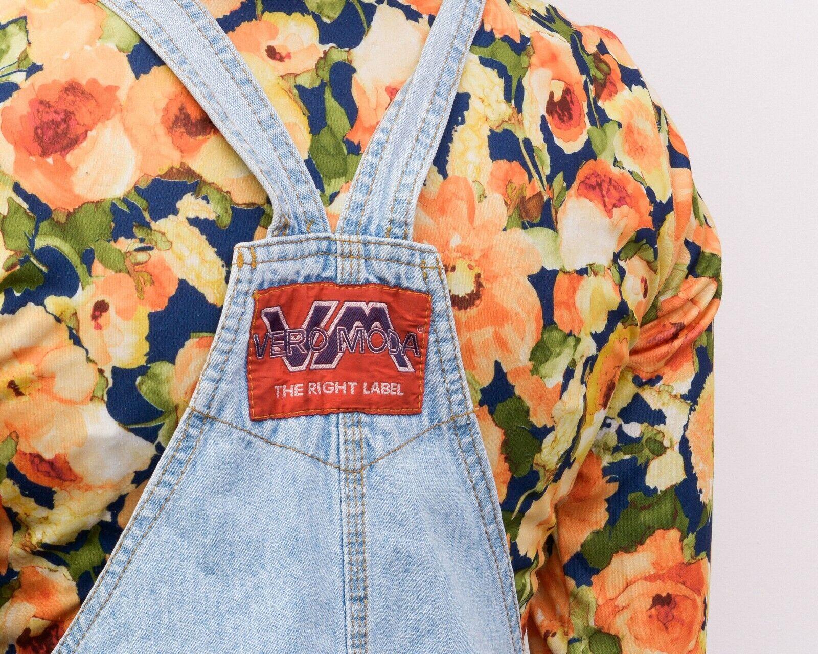Y2K Women's XS Denim Dungaree Pinafore Dress Butt… - image 8