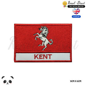 KENT-England-County-Flag-With-Name-Embroidered-Iron-On-Sew-On-Patch-Badge
