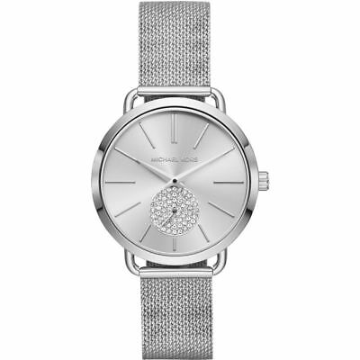 Michael Kors MK3843 Portia Stainless Steel Silver Mesh Band 37mm Watch