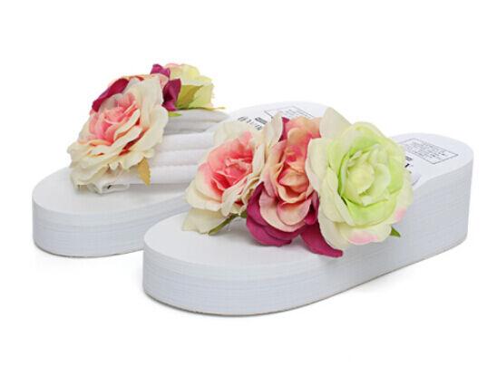 Sandalo donna ciabatte donna Sandalo donna ciabatte infradito bianco fiori zeppa   848aa4