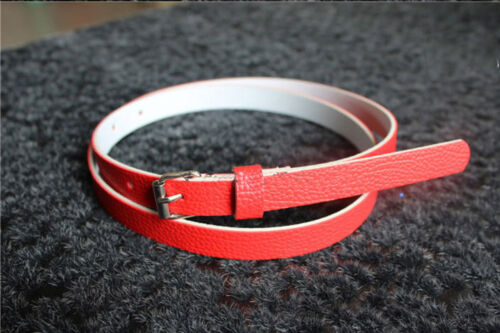 8Colors  Fashion  Women Lady  Faux Leather Thin Skinny Waist Belt Buckle