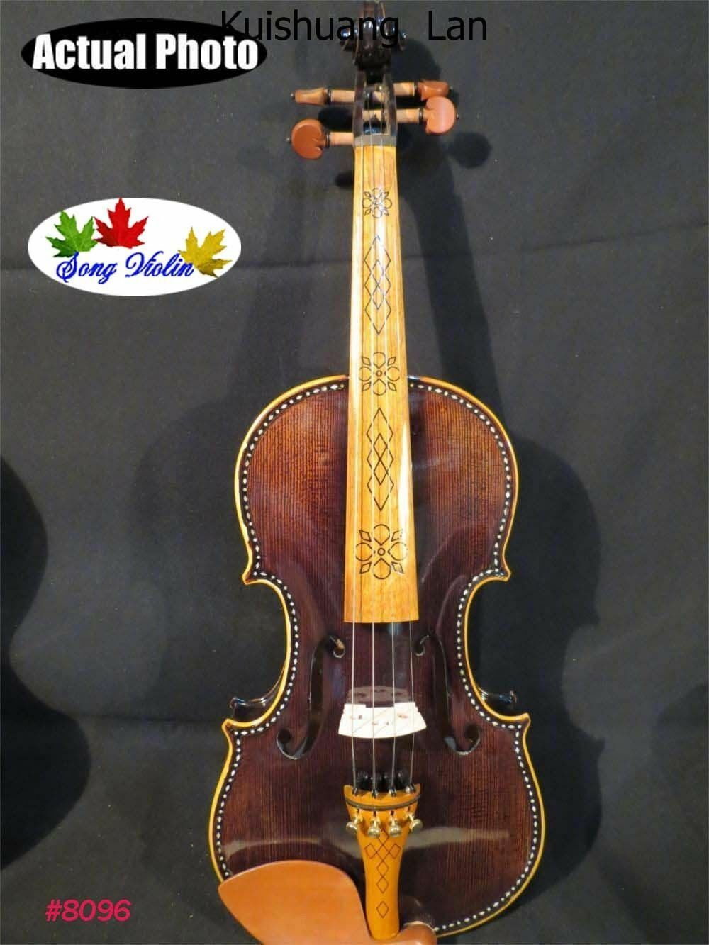 Strad style SONG Maestro inlay art Acoustic electric  violin,resonant sound 4 4