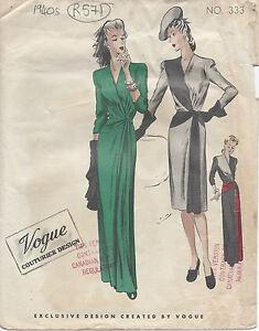 63545902af69 Image is loading 1940s-Vintage-VOGUE-Sewing-Pattern-B32-034-DRESS-