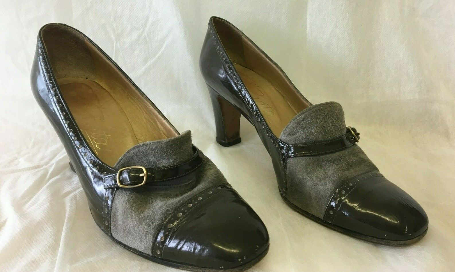 Ladies Designer Vintage Classic shoes Size 5.5   38.5 Leather Suede Grey Brown