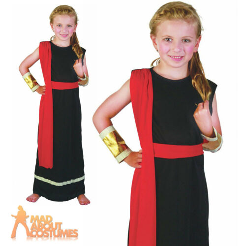 Child Roman Girl Costume Black Toga Greek Egyptian Fancy Dress Outfit New