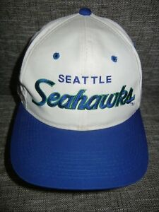 Image is loading Vtg-90s-SEATTLE-SEAHAWKS-Football-White-NFL-SCRIPT- 83453a845
