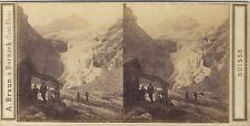 Suisse Oberland Bernois Glacier Rosenlani Photo stéréo Vintage albumine ca 1865