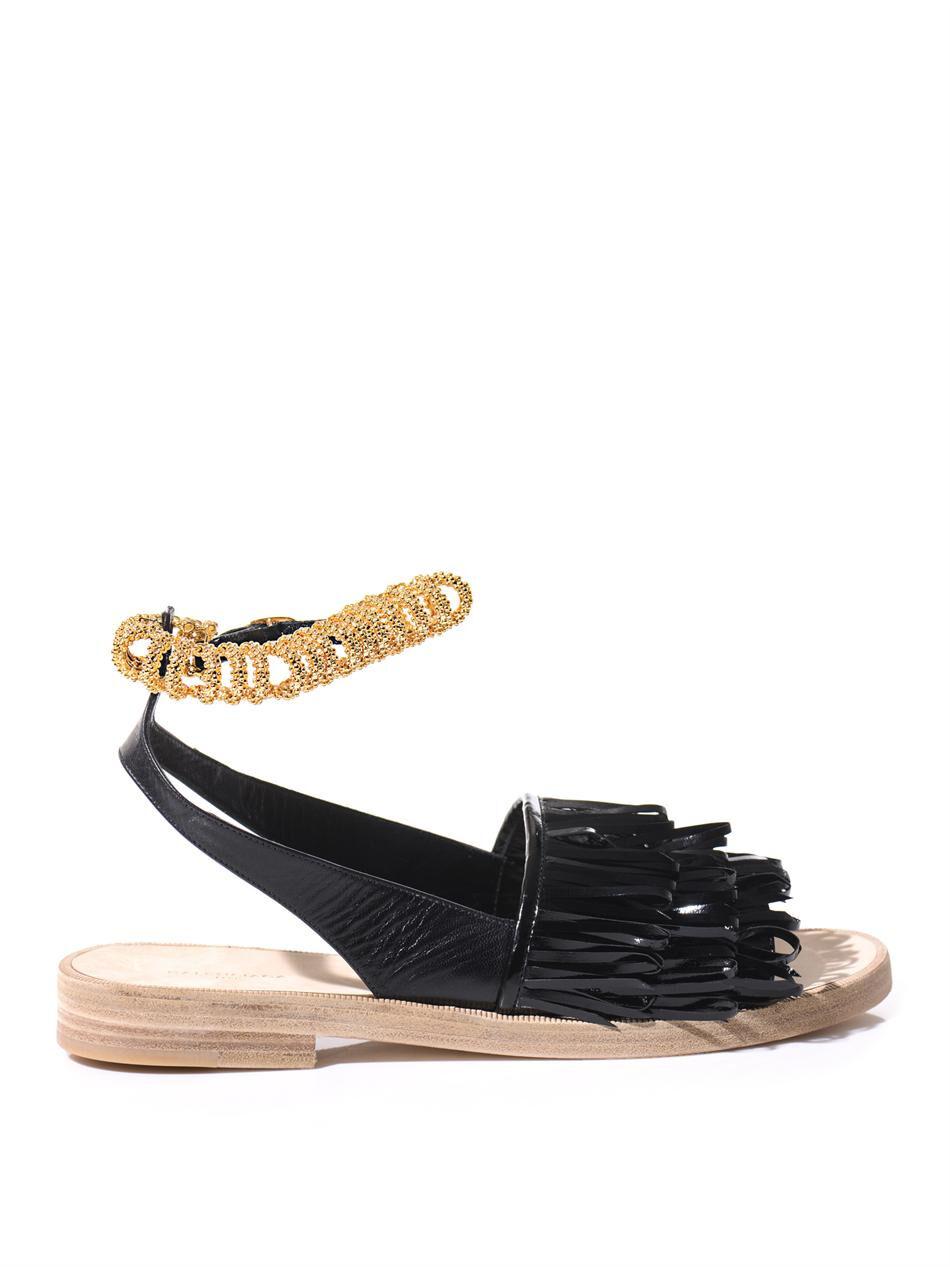 Balenciaga con flecos de cuero sandalia de pista de Cadena de oro nuevo EU41 UK8 US11