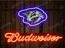 "New Budweiser Nashville Predators Beer Neon Sign 19""x15"" Ship From USA"