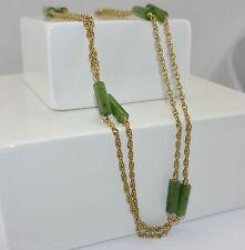 sehr lange Halskette - mit Jade / 333er - 8 Karat Gelbgold / ca. 90 cm