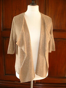 NEW-Women-039-s-Size-14-Gold-Short-Sleeved-Cardigan-from-TU