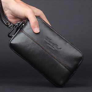Women Genuine Leather Hook Waist Pack Cell Phone Bag Men Purse Clutch Wallet