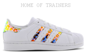 ... Adidas-Superstar-Blanc-Marron-Enfants-Garcons-Filles-Baskets-
