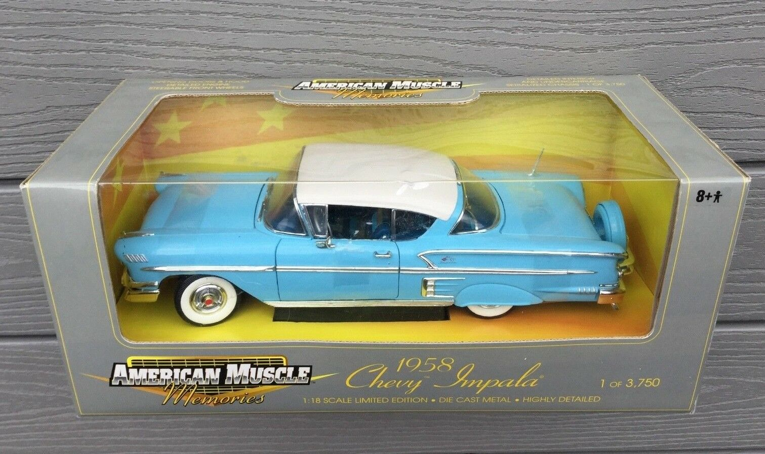ERTL 1 18 AMERICAN MUSCLE 1958 blueE CHEVY CHEVY CHEVY IMPALA LTD EDIT 1  3750 ITEM 32286 F S 44059e