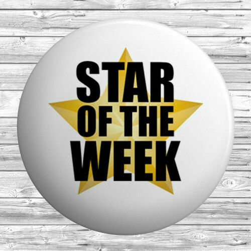 Employee of the Month BUTTON PIN BADGE 25mm 1 INCH Blue Yellow Shooting Star