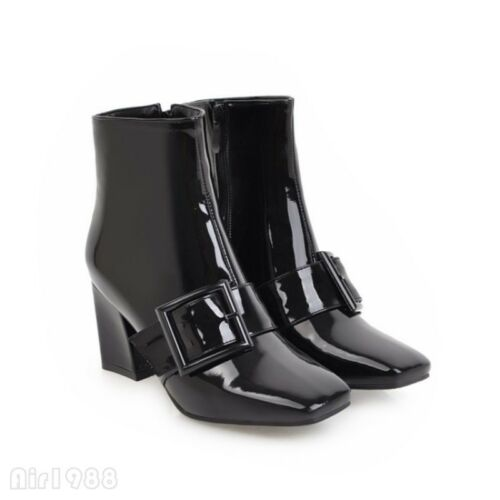 Patent Leather Women/'s Square Toe Chelsea Boots Buckle Block Heel Ankle Shoes