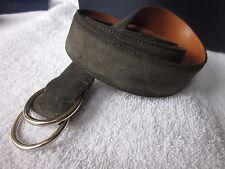 NEW $300 Ralph Lauren Double O Ring Belt Mens  MEDIUM Sage  Green Suede
