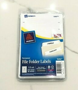252 LabelsPack 13 Cut White Avery Permanent File Folder Labels