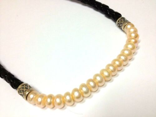 Black Leatherett 925 STERLING SILVER Necklace New Honor Style Peach Real Pearl