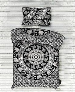 Elephant Mandala Duvet Quilt Cover Bedding Ethnic Reversible Cotton Blanket Set