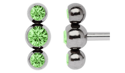 Piercing Screw Clasp Thread Drilling for 1,6mm with Three Zirconia BALLS