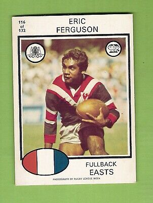 1975 EASTERN SUBURBS ROOSTERS SCANLENS RUGBY LEAGUE CARD #116 ERIC ...