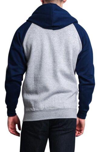 Men/'s Heavyweight Fleece Two Striped Zip Up Hoodie Sweater Unisex-13116