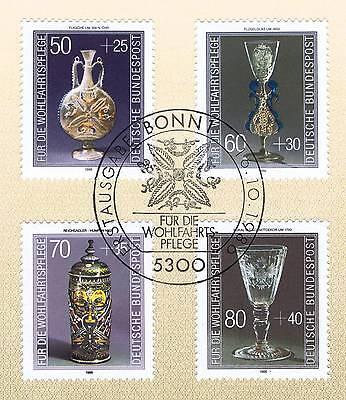 VertrauenswüRdig Brd 1986: Kostbare Gläser! Wohlfahrt Nr. 1295-1298 Mit Bonner Stempel! 1a! 157