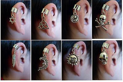 One Charm Dangle Ear Cuff Clip Stud Wrap Earring, Goth Punk Rock . Non Pierced.
