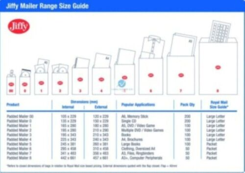 JL4 Blanc 270 x 335 mm Bulle Rembourré Jiffy Airkraft Postal Sac Enveloppe